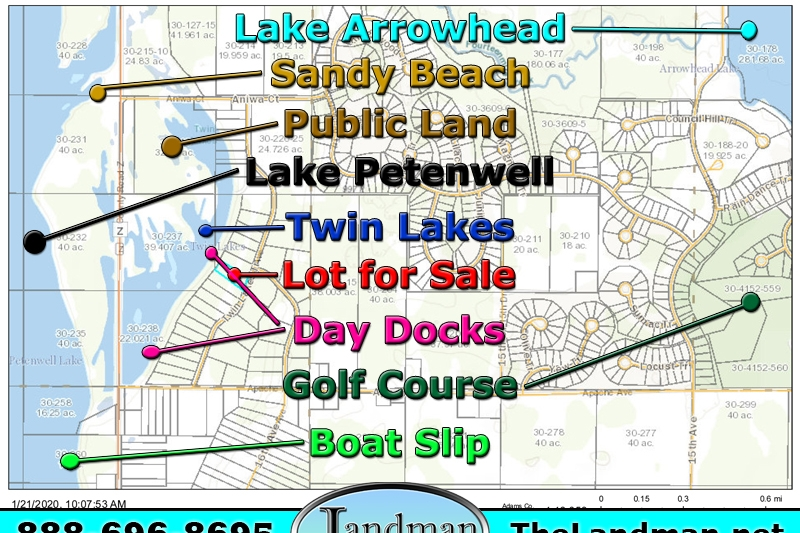Twin Lakes Wisconsin Waterfront Land for Sale & Boat Slip on Lake Petenwell